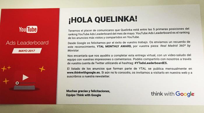 Quelinka recibe el YouTube Ads Leaderboard de mayo