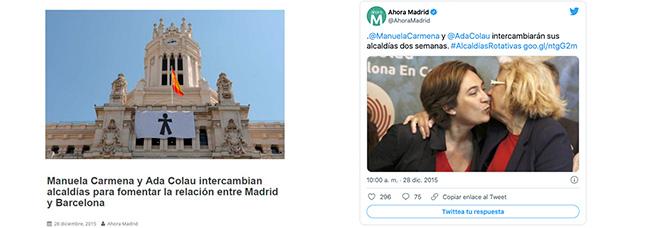 Las redes sociales sucumben ante la inocentada de Manuela Carmena y Ada Colau